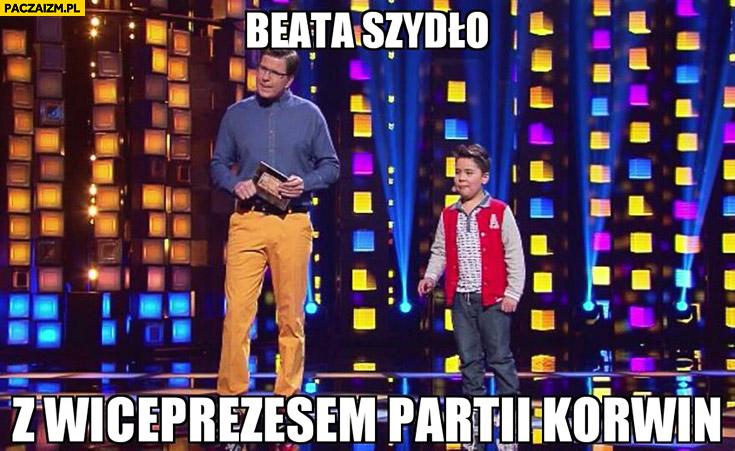 Beata Szydło z wiceprezesem partii Korwin Chajzer dziecko