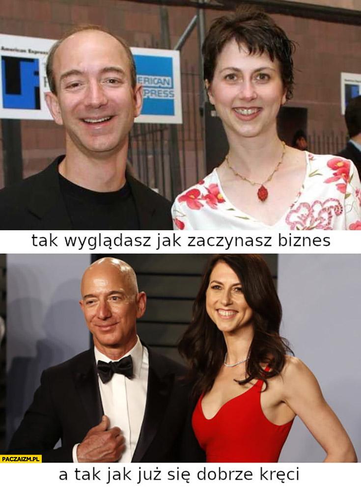 Bezos z żoną tak wyglądasz jak zaczynasz biznes, a tak jak już się dobrze kręci