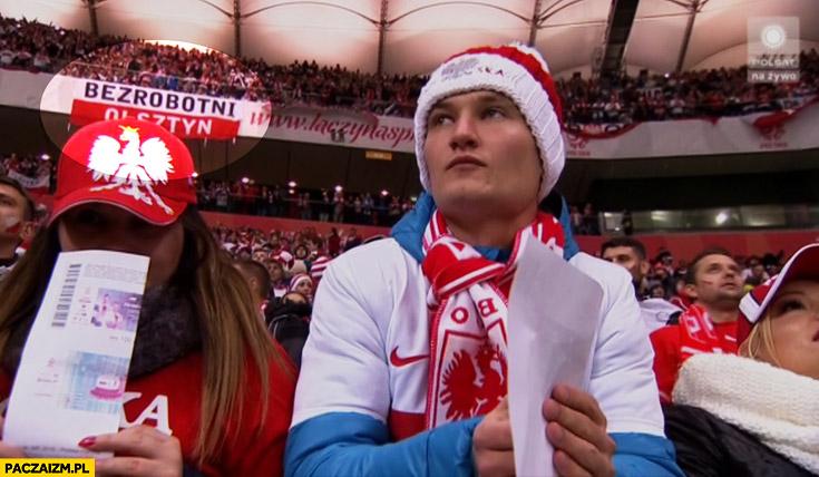 Bezrobotni Olsztyn transparent na meczu