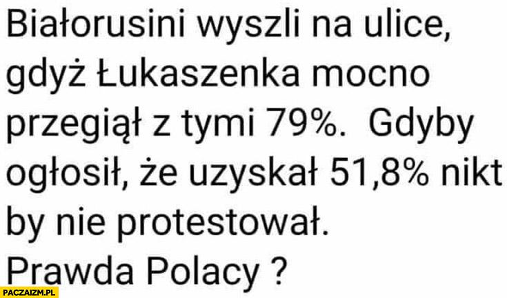 Białorusini wyszli na ulice bo Łukaszenka przegiął z 79% procentami, gdyby ogłosił, że uzyskał 51% procent nikt by nie protestował, prawda Polacy?