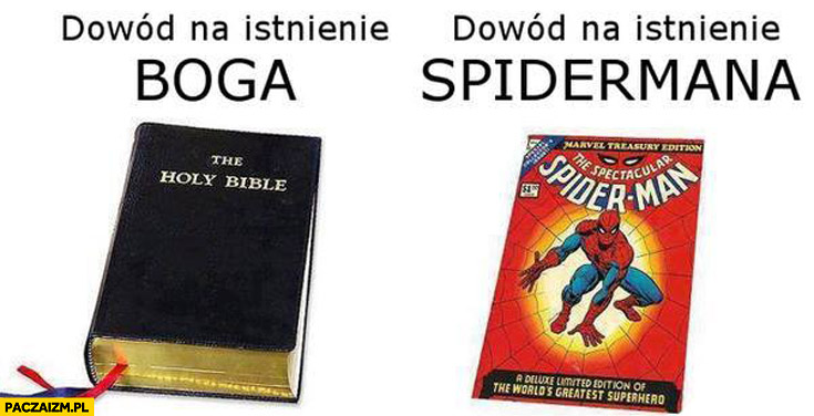 Biblia dowód na istnienie Boga komiks dowód na istnienie Spidermana