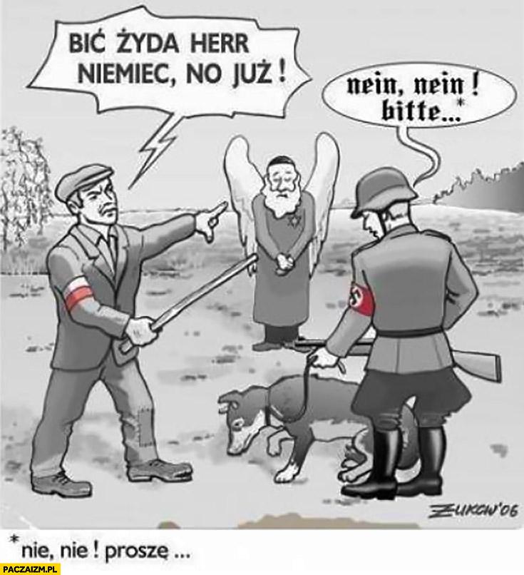 Bic Żyda, herr Niemiec, no już! Nein, neinm bitte! Nie, nie proszę! Polak Żyd Żołnierz SS ilustracja Druga Wojna Światowa