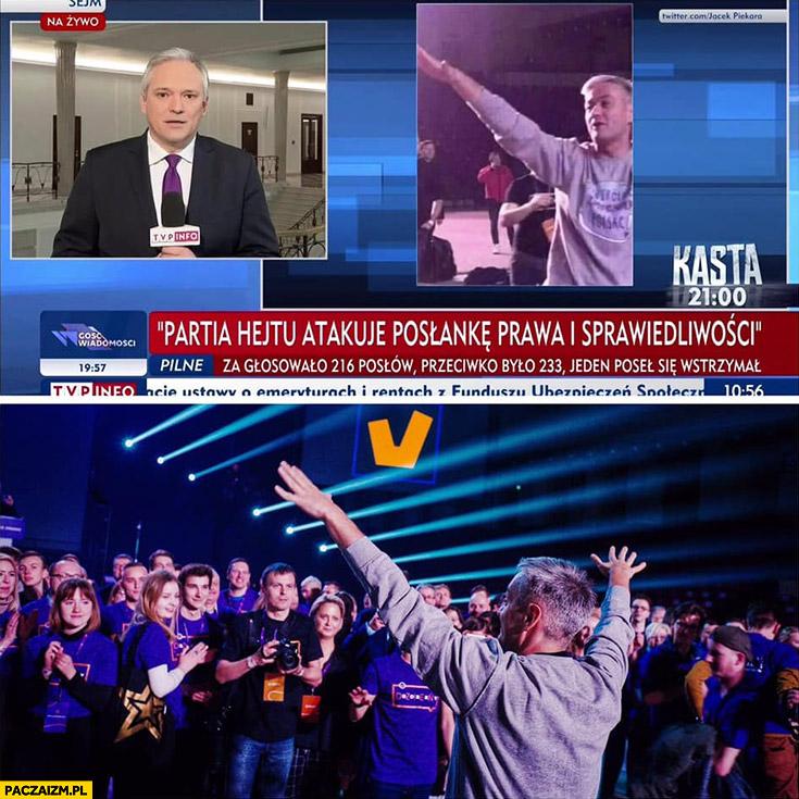 Biedroń hailuje w TVP Info naprawdę po prostu ma ręce w górze