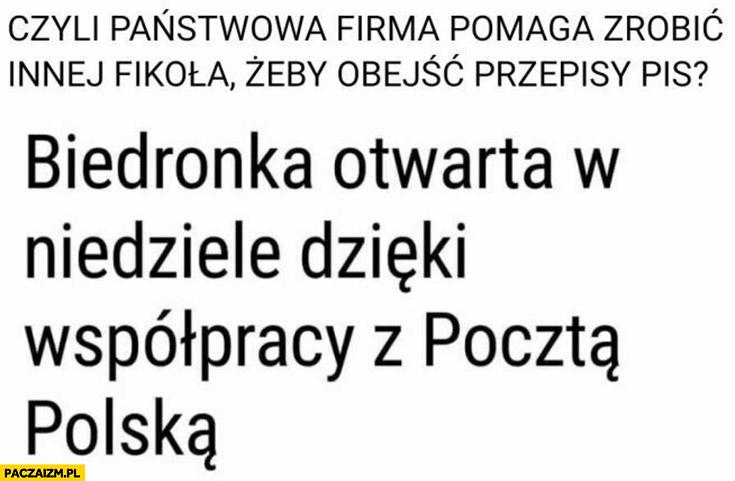 Biedronka otwarta w niedziele dzięki współpracy z pocztą polską, państwowa firma pomaga zrobić innej fikoła żeby obejść przepisy PiS