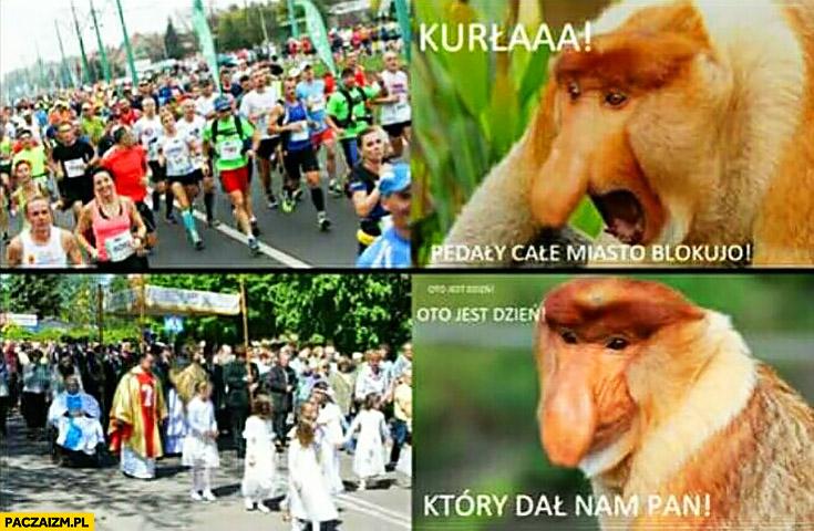 Bieg maraton kurna całe miasto blokują, procesja na Boże Ciało oto jest dzień, który dał nam Pan typowy Polak nosacz małpa