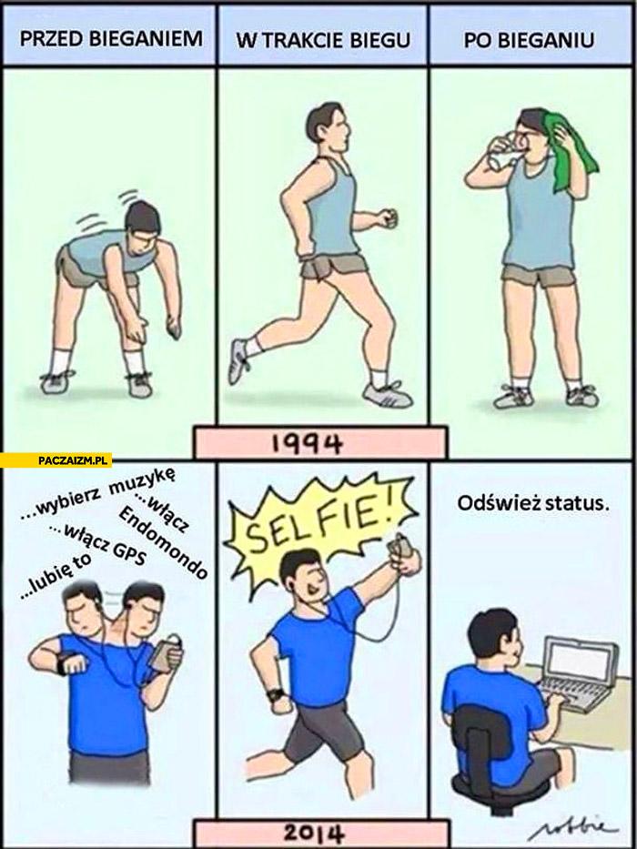 Bieganie kiedyś i dziś przed w trakcie po
