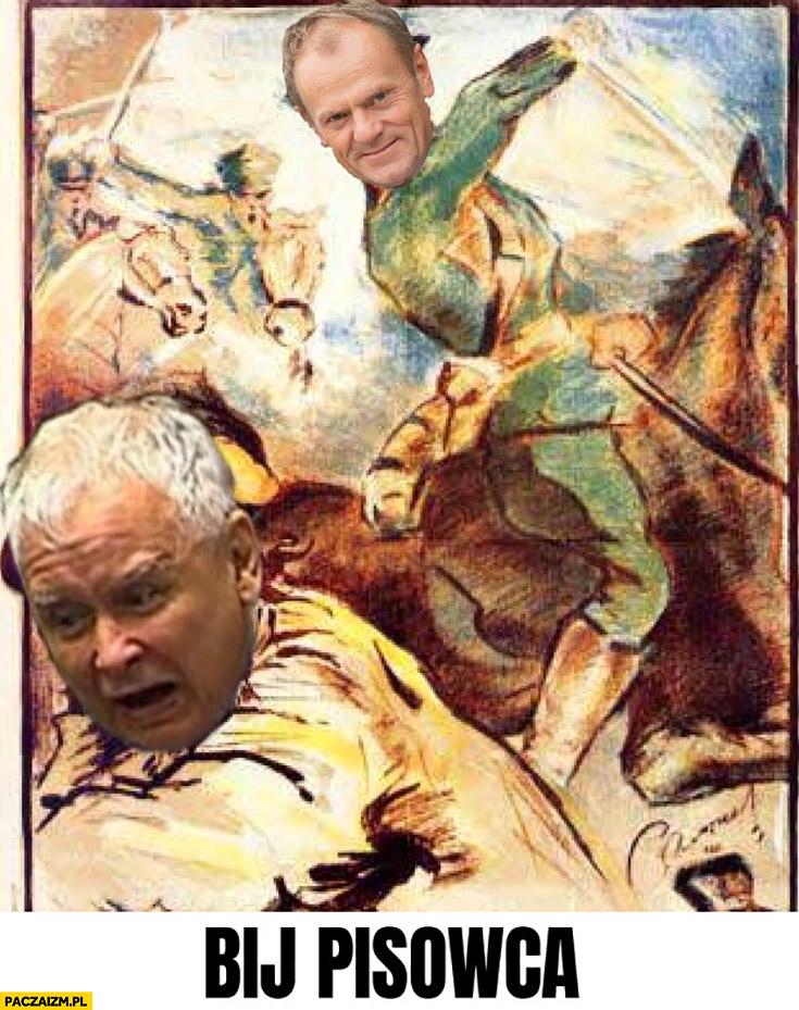Bij pisowca Tusk Kaczyński przeróbka PiS szabla