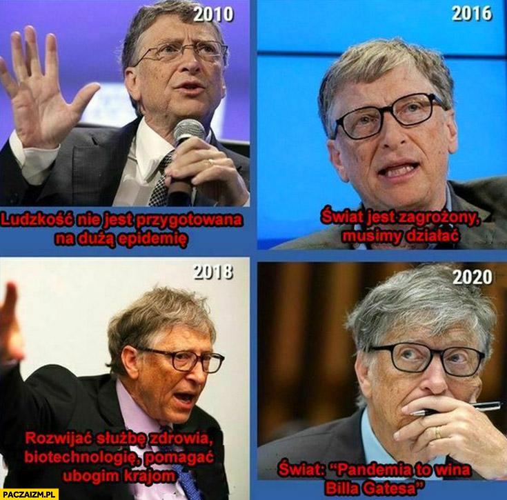 Bill Gates przestrzegał przed epidemia świat w 2020 pandemia to wina Billa Gatesa