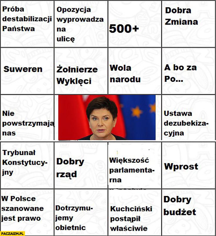 Bingo Beata Szydło PiS Prawo i Sprawiedliwość