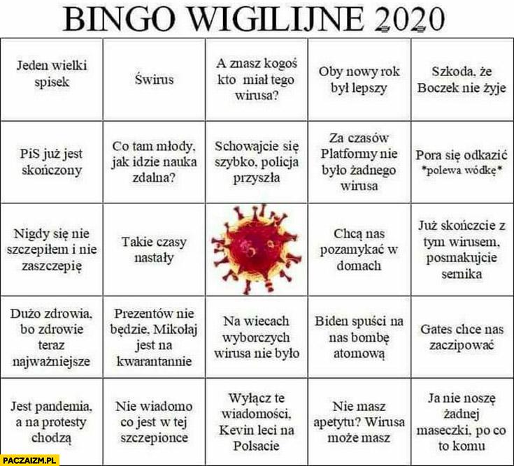 Bingo wigilijne 2020 koronawirus świrus cytaty powiedzenia
