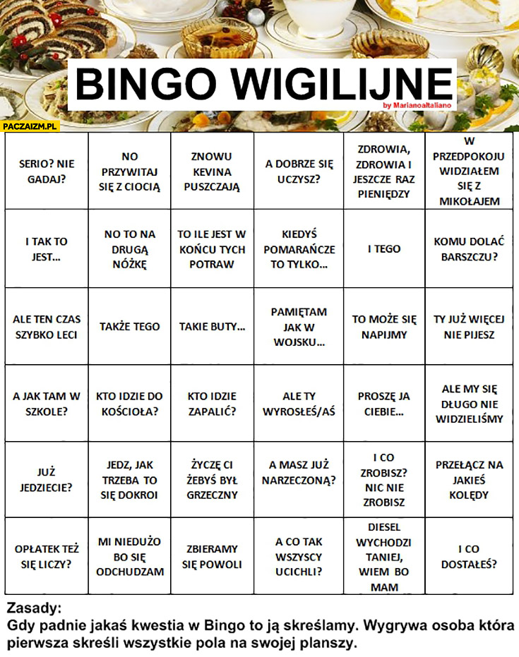 Bingo Wigilijne tabelka