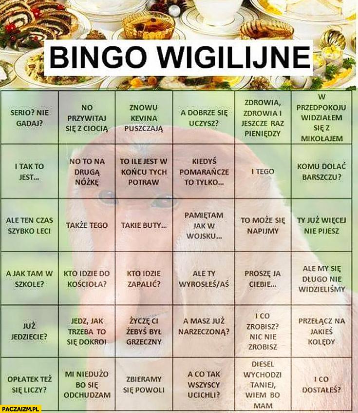 Bingo wigilijne typowy Polak nosacz małpa cytaty powiedzenia