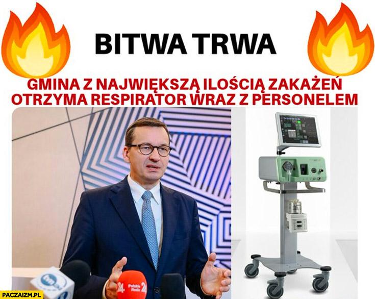 Bitwa trwa, gmina z największa ilością zakażeń otrzyma respirator wraz z personelem Morawiecki