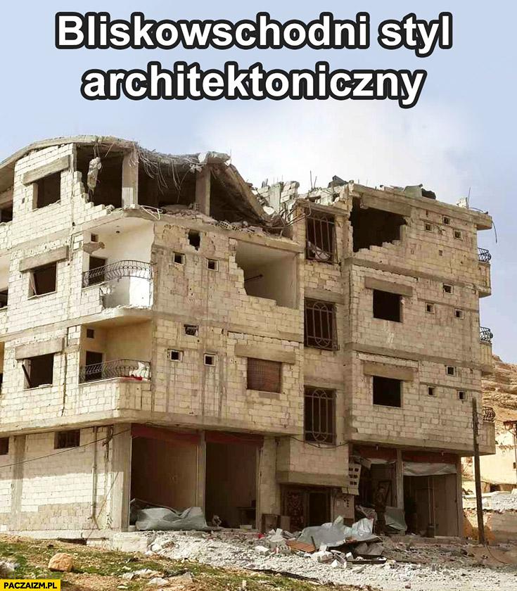 Bliskowschodni styl architektoniczny zbombardowany rozwalony zdemolowany budynek
