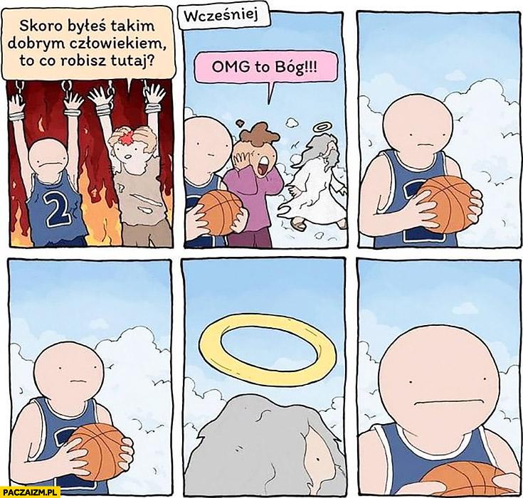 Bóg aureola jako kosz koszykarz w piekle komiks