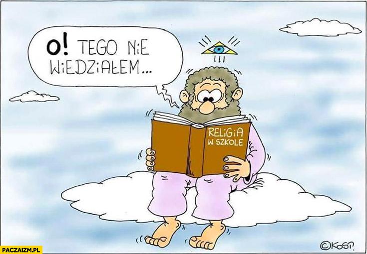 Bóg czyta książkę religia w szkole, o tego nie wiedziałem