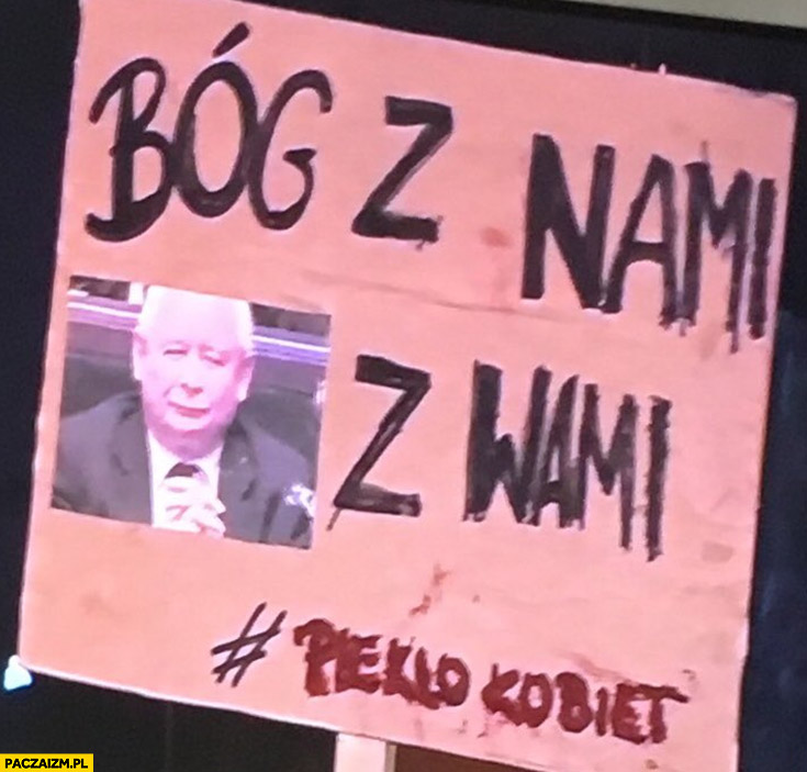 Bóg z nami kij Kaczyński z wami transparent