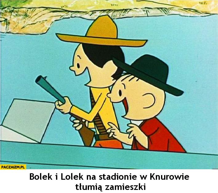 Bolek i Lolek na stadionie w Knurowie tłumią zamieszki