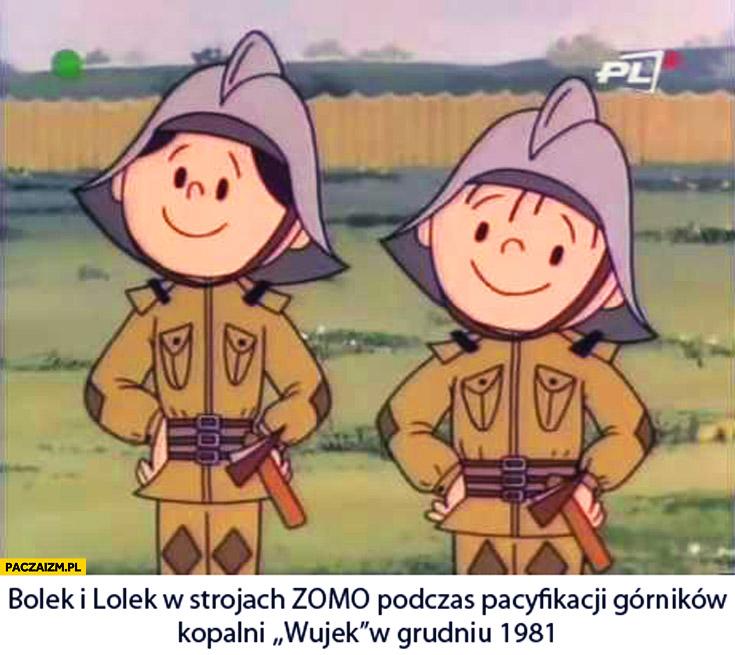 Bolek i Lolek w strojach ZOMO podczas pacyfikacji górników kopalni Wujek
