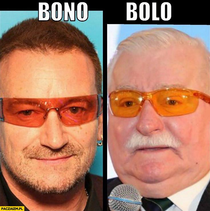 Bono Bolo Lech Wałęsa piosenkarz pomarańczowe okulary porównanie
