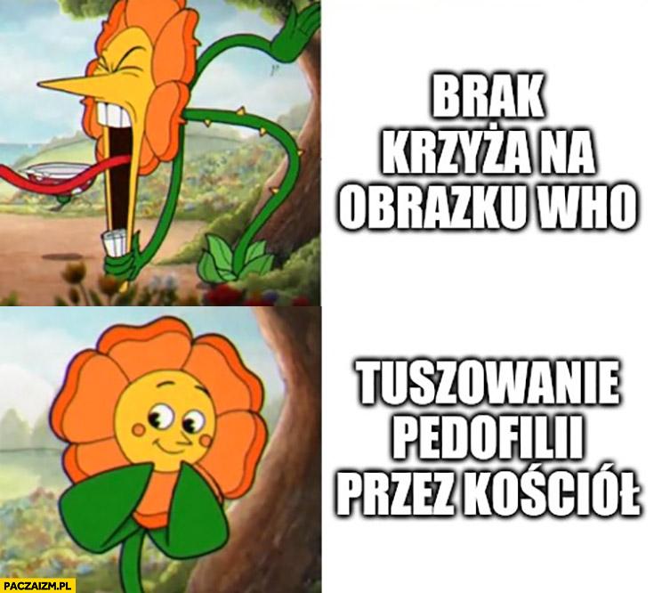 Brak krzyża na obrazku WHO vs tuszowanie pedofilii przez kościół kwiatek kwiatuszek