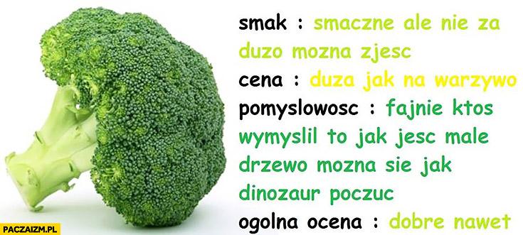 Brokuł recenzja. Smak: smaczne, ale nie za dużo można zjeść, cena: duża jak na warzywo, pomysłowość fajnie ktoś wymyślił, to jak jeść małe drzewo, ogólna ocena: dobre nawet
