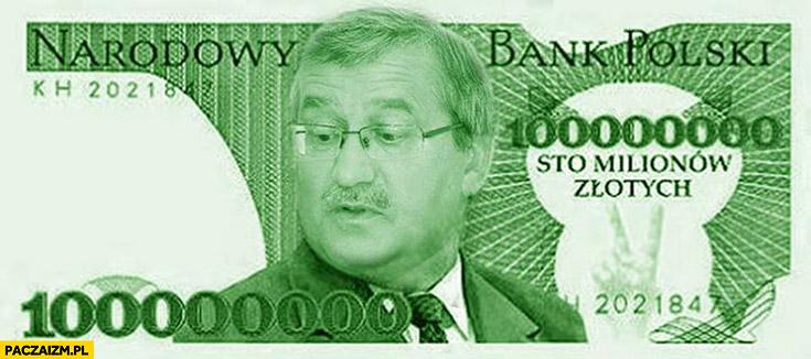 Bronisław Komorowski banknot sto milionów złotych referendum