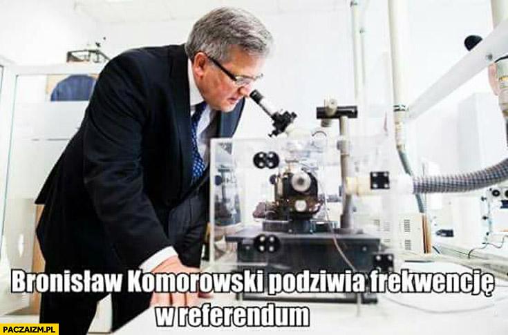 Bronisław Komorowski podziwia frekwencję w referendum pod mikroskopem