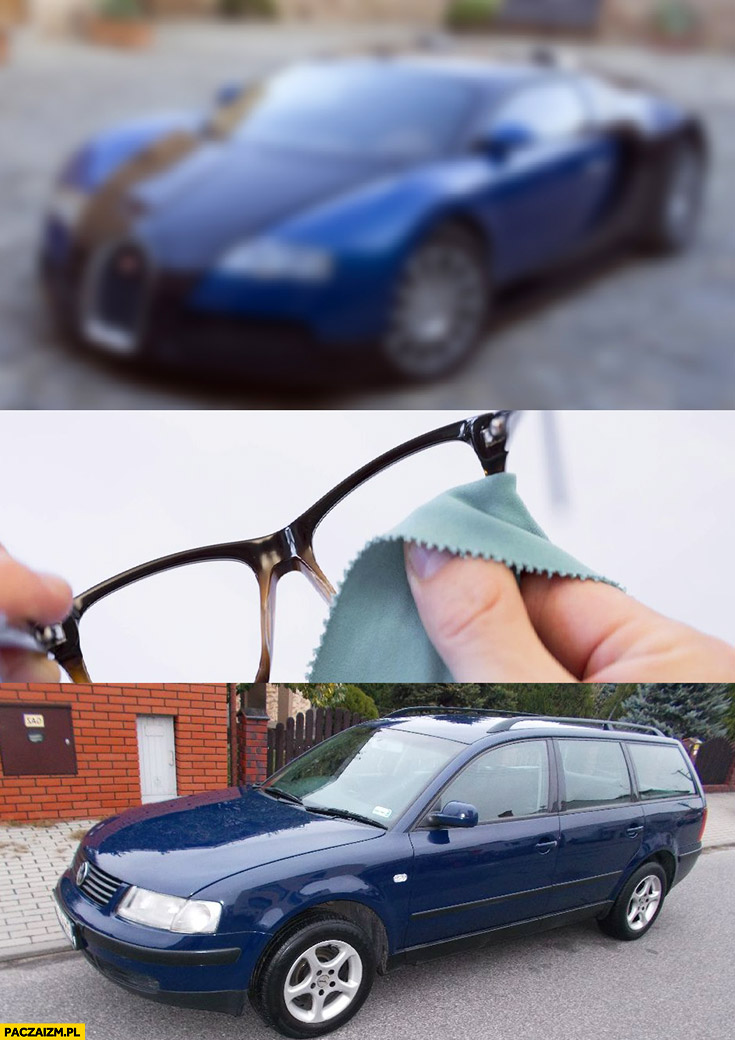 Bugatti Veyron po przetarciu okularów Volkswagen Passat
