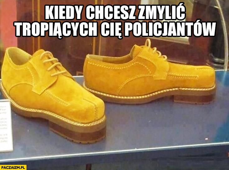Buty z odwrotną odwróconą podeszwą kiedy chcesz zmylić tropiących Cię policjantów