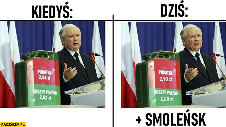 Cena paliwa kiedyś vs dziś Smoleńsk Kaczyński większe podatki przy niższym koszcie paliwa