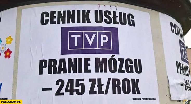 Cennik usług TVP pranie mózgu 245 zł rok