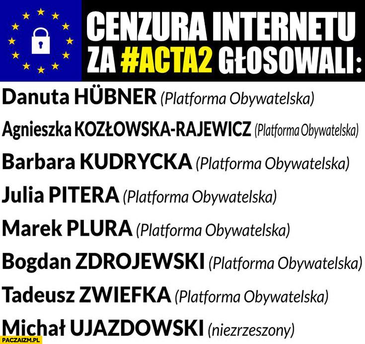 Cenzura w internecie lista nazwisk posłów MEP głosujących za ACTA2 Platforma Obywatelska