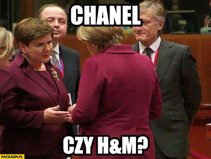 Chanel czy H&M? Szydło Merkel bordowy kostium