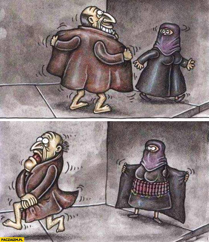 Chciał się obnażyć przed muzułmanką obwieszona bombami