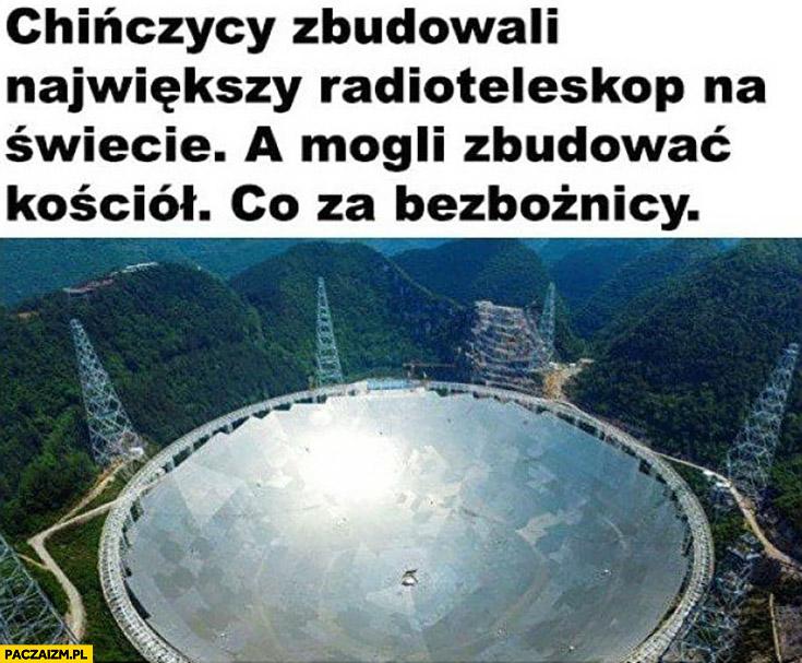 Chińczycy zbudowali największy radioteleskop na świecie, a mogli zbudować kościół, co za bezbożnicy