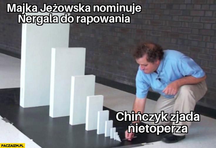 Chińczyk zjada nietoperza Majka Jeżowska nominuje Nergala do rapowania domino