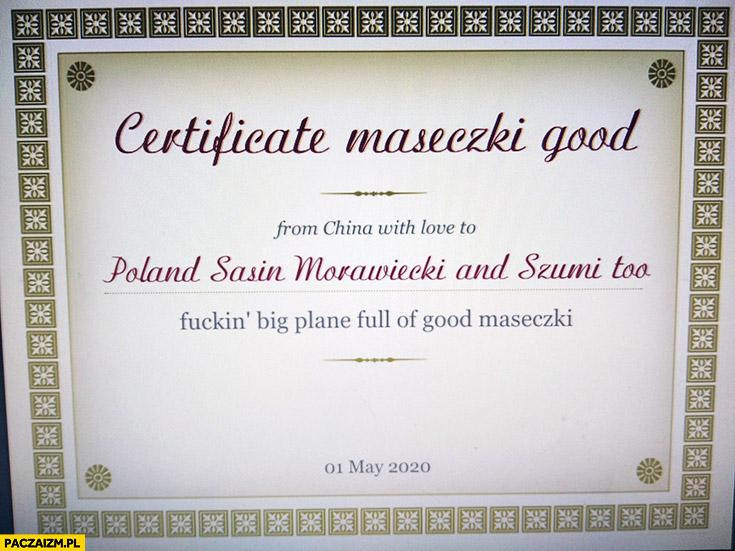 Chiński certyfikat maseczki good przeróbka