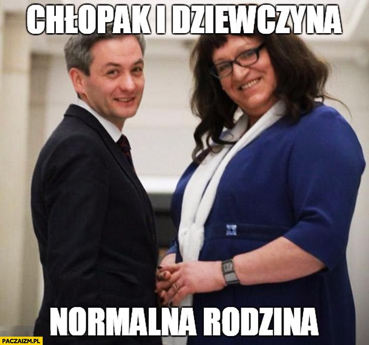 Chłopak i dziewczyna normalna rodzina Biedroń Grodzka