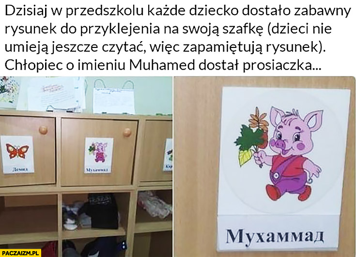 Chłopiec Muhamed w Rosji dostał prosiaczka naklejanego na szafkę