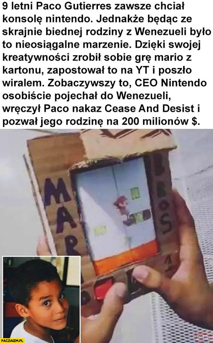 Chłopiec zawsze chciał konsole Nintendo zrobił ją z kartonu CEO Nintendo osobiście pojechał do niego pozwał go na 200 milionów
