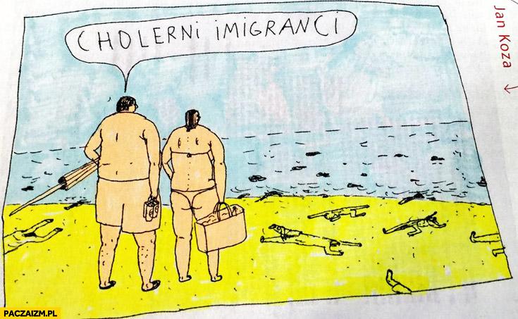 Cholerni imigranci plaża