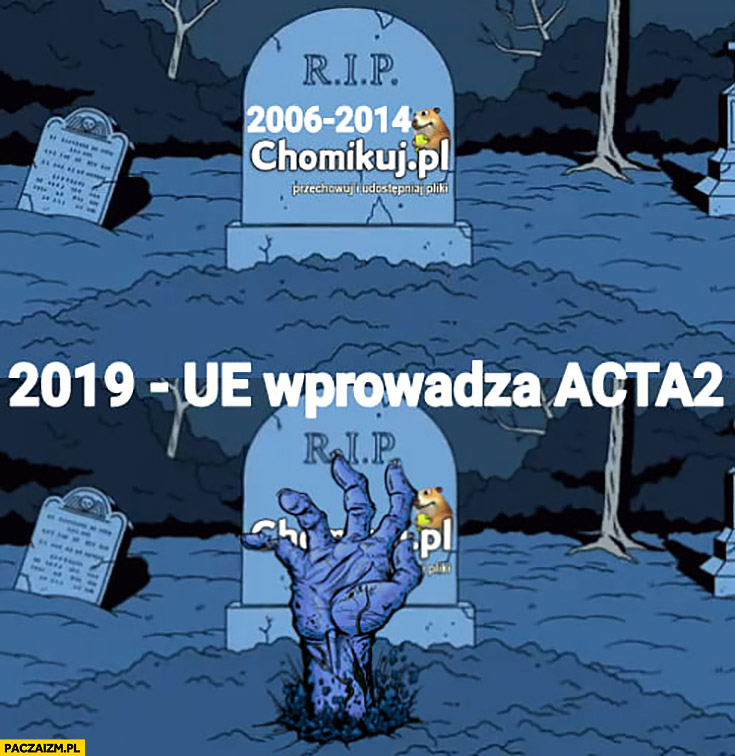 Chomikuj grób nagrobek RIP 2019 UE wprowadza ACTA2 ożywa