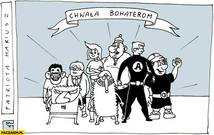 Chwała bohaterom Tytus, Romek i A-Tomek, Wilq, Jeż Jerzy, Kajko i Kokosz Patriota Mariusz