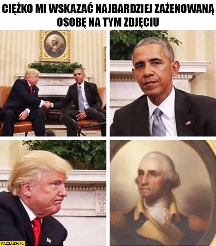 Ciężko mi wskazać najbardziej zażenowaną osobę na tym zdjęciu Barack Obama, Donald Trump, Waszyngton
