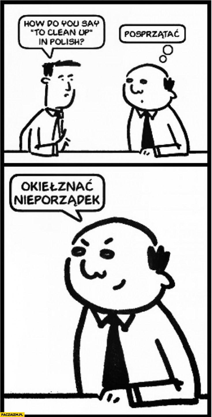 Clean up po polsku? Posprzątać okiełznać nieporządek
