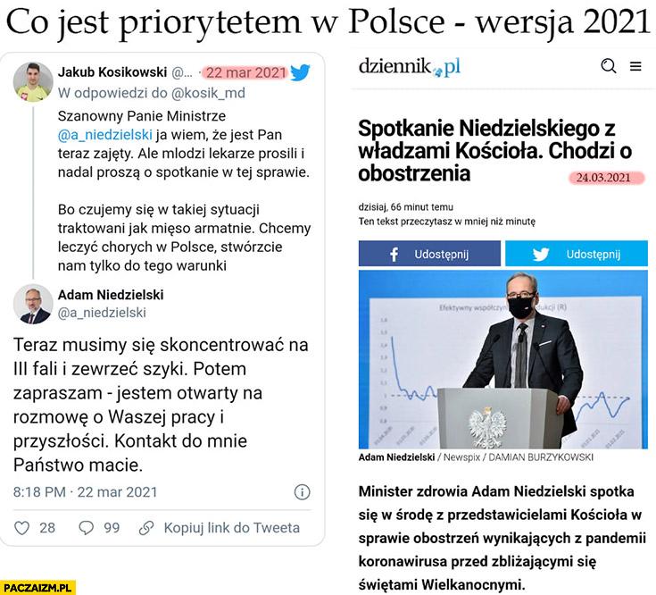 Co jest priorytetem w Polsce wersja 2021: rozmowy z lekarzami vs z kościołem minister zdrowia Niedzielski