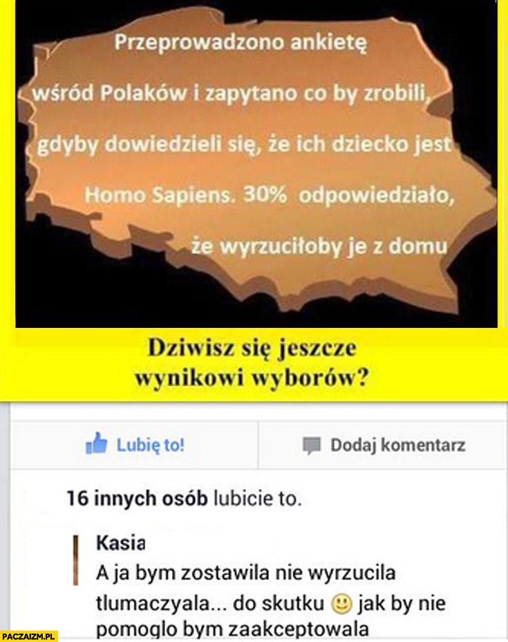Co Polacy by zrobili gdyby dowiedzieli się że ich dziecko jest homo sapiens? 30% procent wyrzuciłoby je z domu