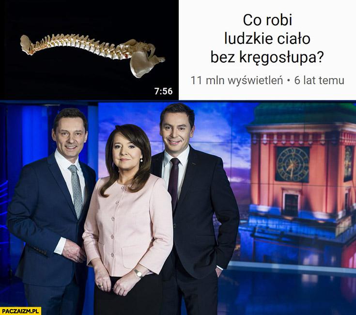 Co robi ludzkie ciało bez kręgosłupa prezenterzy Wiadomości TVP Holecka Adamczyk Ziemiec