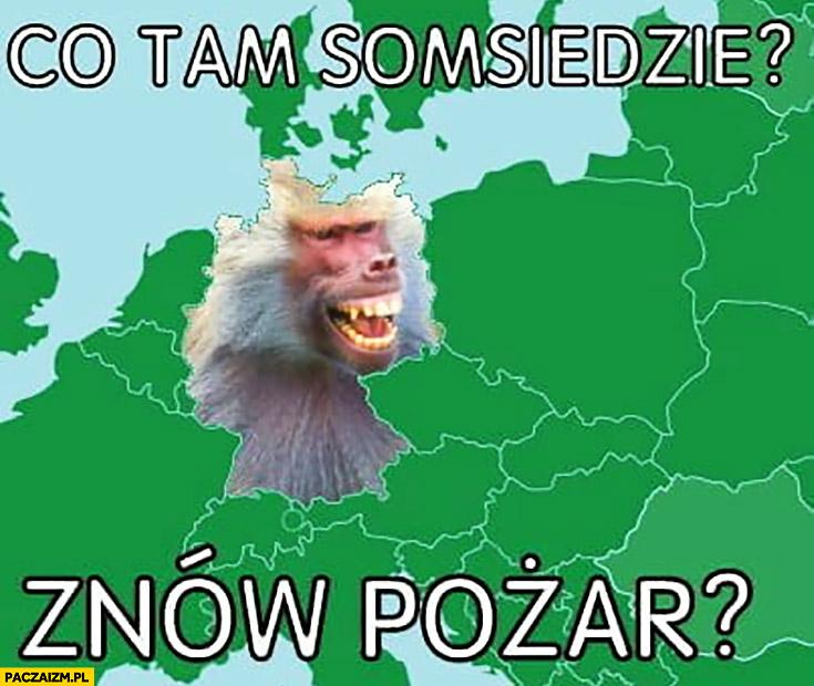 Co tam sąsiedzie, znów pożar? Niemiec małpa pyta Polskę typowy polak nosacz małpa śmieci wysypiska
